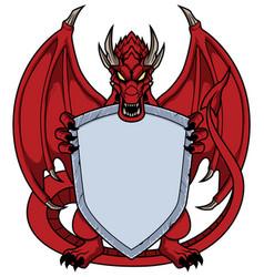 Dragons holding shield vector
