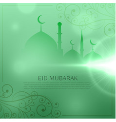 Elegant eid festival greeting design in green vector