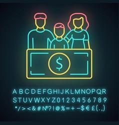 Family sponsorship immigration neon light icon vector