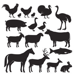 Farm animals silhouette icons vector