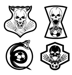 Football team crests set with snake and skulls vector