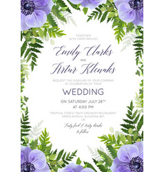 Forest green wedding floral card design vector