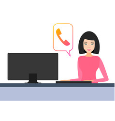 Girl behind the computer online call online chat vector