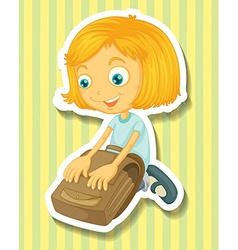 Girl packing her schoolbag vector