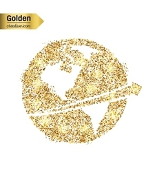 Gold glitter icon of planet earth isolated vector image