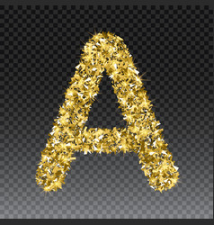 Gold glittering letter a shining golden vector