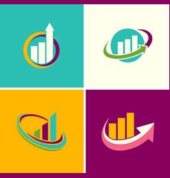 Graph finance logos vector