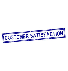 Grunge blue customer satisfaction word square vector