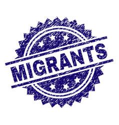 Grunge textured migrants stamp seal vector