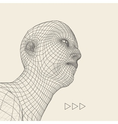 head person from a 3d grid human head vector image