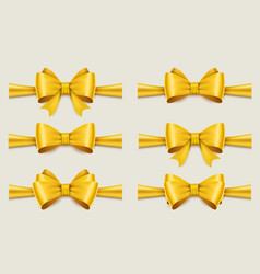 holiday golden ribbon and bow set vector image
