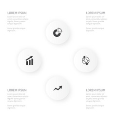 Icon chart set of progress slice increase and vector