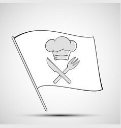 Icon chef hat knife and fork on a white flag vector