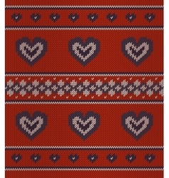 Jacquard pattern with hearts on red vector