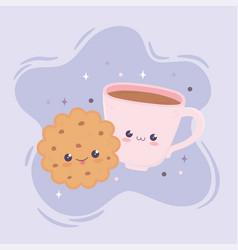 kawaii sweet cookie and coffee cup fast food vector image