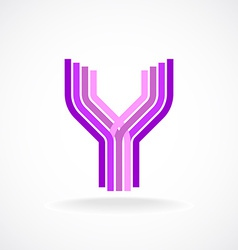 Letter Y logo templateParallel lines style vector image