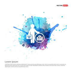 Man with clock and money icon - watercolor vector