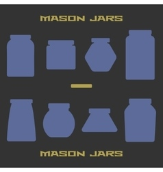 Mason jars silhouette icons set Design suitable vector image