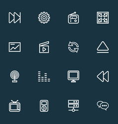 media icons line style set with broadcast comment vector image