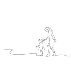 Mother and daughter walking together one line vector
