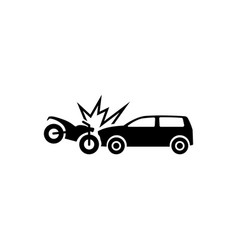 motorcycle hits car crash flat icon vector image
