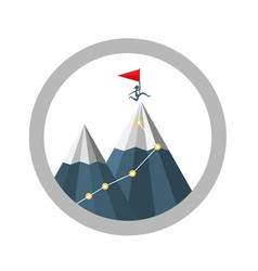 mountain top achievement symbol with jumping man vector image