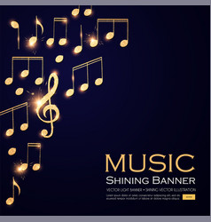 Music background gold shining notes and treble vector