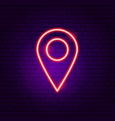 navigation pin neon sign vector image