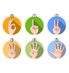Number hand sign with different color vector