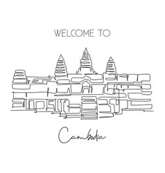 One continuous line drawing angkor wat temples vector