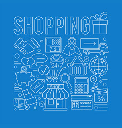 online shopping thin lines web icon concept vector image
