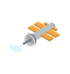 Orbital communication satellite isolated icon vector