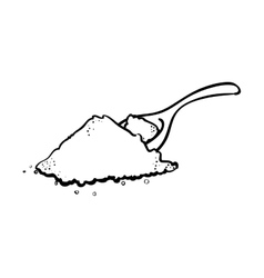 Outline spoon pile salt cooking vector