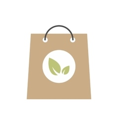 Paper bag with leaves icon vector image