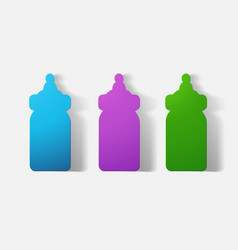 Paper clipped sticker baby bottle vector
