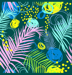 pattern with tropical leaves and scrawl vector image