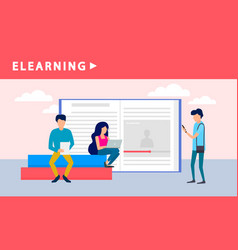 people elearning banner flat style vector image