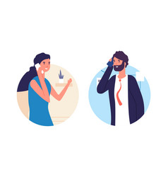people talking phone man and woman have vector image