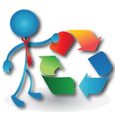 People with a recycling symbol vector