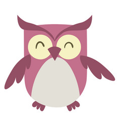 pink happy owl on white background vector image