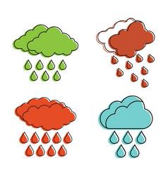 rain cloud icon set color outline style vector image