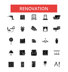 renovation thin line icons linear vector image