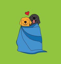 Retriever dogs couple in a blanket vector