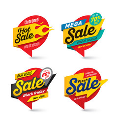 Sale banners template hot fire lightning bubbles vector