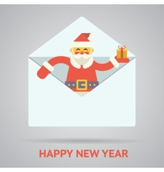 santa claus with goftbox greeting card design vector image