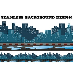 Seamless design with buildings along the sidewalk vector