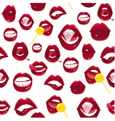 seamless pattern of sexy pop art red female lips vector image