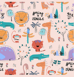 seamless pattern with cartoon wild animals on pink vector image