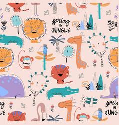 Seamless pattern with cartoon wild animals on pink vector