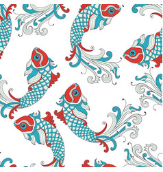 Seamless pattern with karp fishes vector